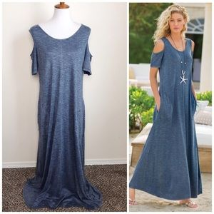 NWT SOFT SURROUNDINGS L Blue Electra Maxi Dress